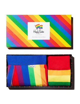 Pride Rainbow Striped Socks & Boxer Briefs Gift Box by Happy Socks