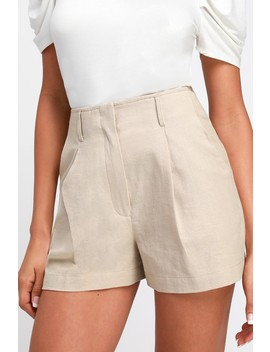 Saige Beige High Waisted Shorts by Lulu's