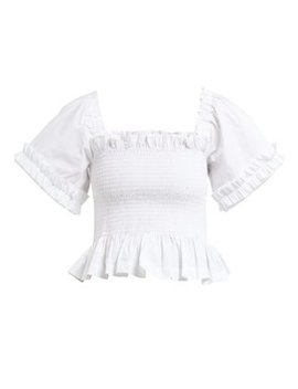 Sydney Ruffle Trimmed Smocked Cotton Top by Molly Goddard