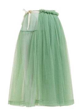 Lettie Gingham Tulle Wrap Midi Skirt by Molly Goddard