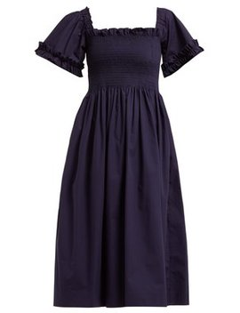 Adelaide Smocked Square Neck Midi Dress by Molly Goddard