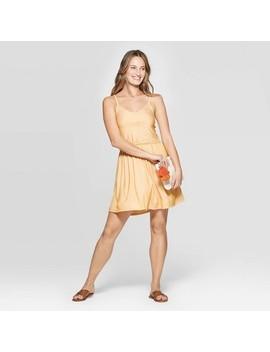 Women's Sleeveless V Neck Striped Knit Dress   Universal Thread Yellow by Neck Striped Knit Dress