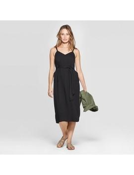 Women's Sleeveless V Neck Belted Midi Dress   Universal Thread by Neck Belted Midi Dress