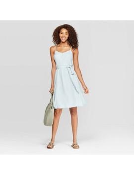 Women's Sleeveless V Neck At Knee Belted Denim Dress   Universal Thread Blue by Neck At Knee Belted Denim Dress