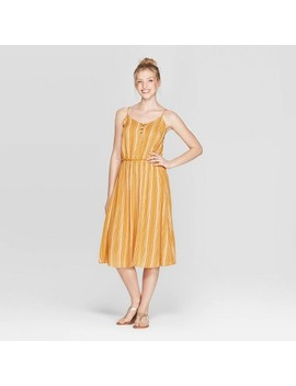 Women's Striped V Neck Strappy Lace Up Top Midi Dress   Xhilaration Golden Yellow by Neck Strappy Lace