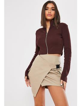 Brown Ribbed High Neck Long Sleeve Top by Missguided