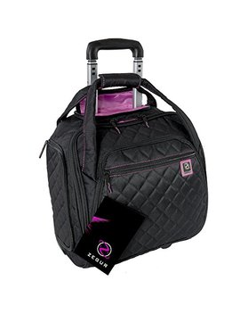 Zegur Quilted Rolling Underseat Carry On Luggage   Wheeled Travel Tote Bag (Black) by Zegur