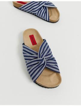 London Rebel Stripe Flat Sandals by Shoes