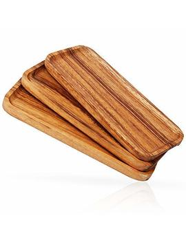 11.8 Inch Solid Wood Serving Platters And Trays   Set Of 3 Highly Durable Dishwasher Safe Rectangular Party Plates   Avoid Sliding & Spilling Food With Easy Carry Grooved Handle Design by New England Kitchen Suppliers