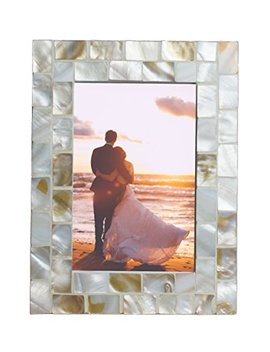 Giftme 5 Photo Frame 4x6 Mother Of Pearl White Photo Frame 4 By 6 Wedding Beach Picture Frame Tabletop Or Wall Hanging Display(4x6, White) by Giftme 5