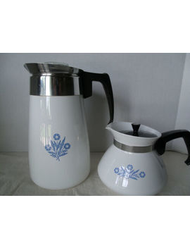 Vintage Corning Ware Blue Cornflower 9 Cup Coffee Pot And 6 Cup Tea Pot by Corning Ware