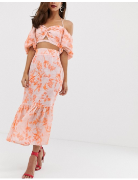 Asos Edition Printed Peplum Hem Midi Skirt by Asos Edition