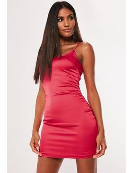 Pink Stretch Satin Bodycon Mini Dress by Missguided