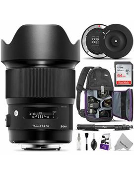 Sigma 20mm F1.4 Art Dg Hsm Lens For Canon Ef Dslr Cameras W/Sigma Usb Dock & Advanced Photo And Travel Bundle by Sigma