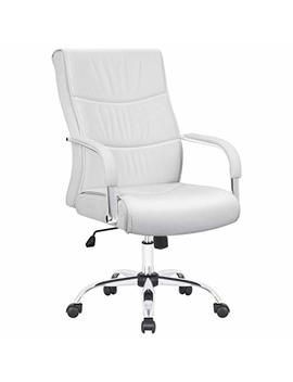 Furmax High Back Office Desk Chair Conference Leather Executive With Padded Armrests,Adjustable Ergonomic Swivel Task Chair With Lumbar Support(White) by Furmax