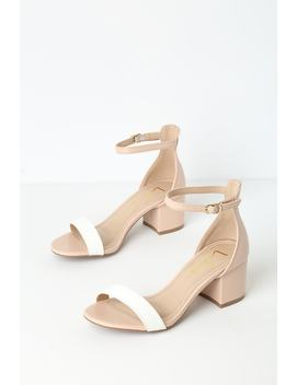 Harper Color Block Nude And White Ankle Strap Heels by Lulus