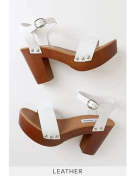 Luna White Leather Wooden Platform Sandals by Steve Madden
