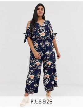 Simply Be – Marinblå, Blommig Jumpsuit Med Bar Axel by Simply Be