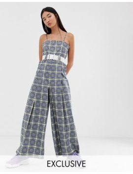 Collusion Check Wide Leg Jumpsuit With Belt by Collusion