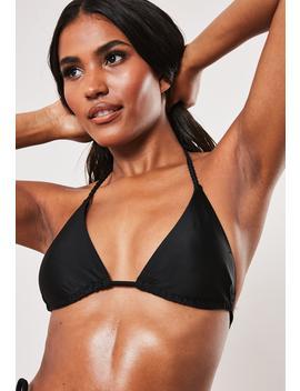 Black Minimal Plait Triangle Bikini Top by Missguided