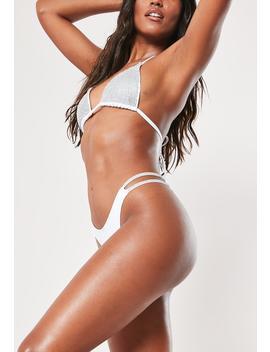White Diamante Double Strap High Leg Tanga Bikini Bottoms by Missguided