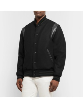 Hayes Leather Panelled Melton Virgin Wool Blend Bomber Jacket by Golden Bear