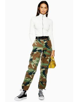 Belted Camouflage Cargo Trousers by Topshop