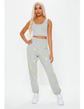 playboy-x-missguided-grey-slogan-crop-top by missguided