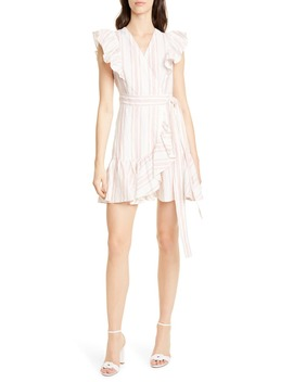 Stripe Ruffle Sleeveless Linen Wrap Dress by Rebecca Taylor