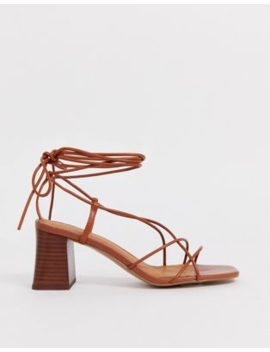 &Amp; Other Stories Leather Strappy Heeled Sandals In Cognac by & Other Stories