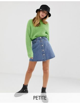 Noisy May Petite Button Front Denim Skirt by Noisy May Petite