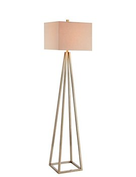 Catalina 19745 001 Contemporary Open Caged Metal Floor Lamp With Natural Linen Rectangular Shade, Bulb Included, Gold by Catalina Lighting