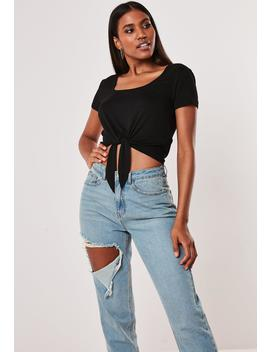 black-scoop-neck-tie-front-short-sleeve-t-shirt by missguided