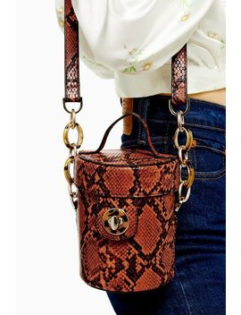 Shona Orange Snake Barrel Cross Body Bag by Topshop