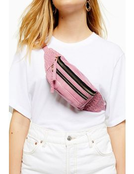Bliss Pink Crocodile Bumbag by Topshop