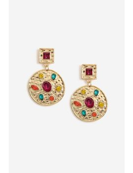 Stone Set Disc Drop Earrings by Topshop