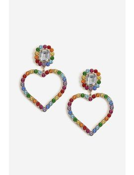 Rainbow Heart Drop Earrings by Topshop