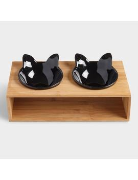 Black Cat Bowls With Stand 3 Piece Set by World Market