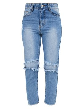 Mid Wash Extreme Knee Rip Straight Leg Cropped Jean by Prettylittlething
