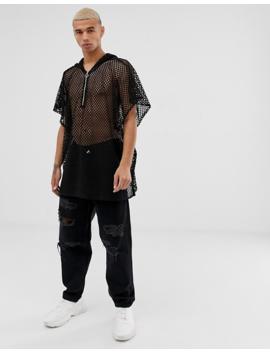 Reclaimed Vintage Mesh Half Zip Hoodie In Black by Reclaimed Vintage