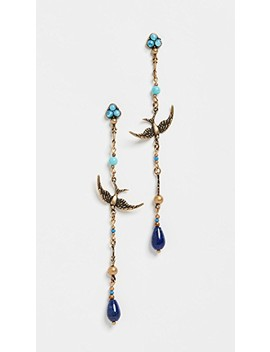 Delicate Swallow Drop Hoop Earrings by Zimmermann