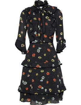 Pussy Bow Ruffle Trimmed Printed Georgette Dress by Mikael Aghal