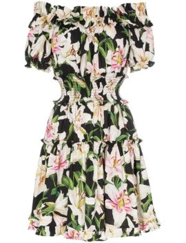 Off The Shoulder Lily Print Dress by Dolce &Amp; Gabbana