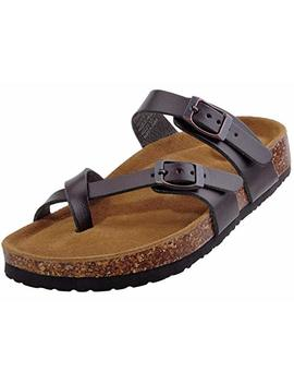 Festooning Womens 2 Strap Pu Leather Platform Comfortable Sandals Cork Sole Slide On Shoes by Festooning