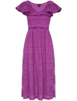 V Neck Ruffle Silk Cotton Blend Dress by Giambattista Valli