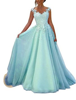 Yangprom Elegant V Neck Lace Appliques Floor Length A Line Prom Evening Dress by Yangprom