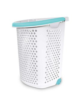 Home Logic 2.0 Bu. Rolling Laundry Hamper Container Bin Storage In White Features Pop Up Handle, Hole Pattern For Ventilation, Built In Wheels To Maneuver by Home Logic