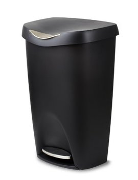 Umbra Brim 13 Gallon Trash Lid Large Kitchen Garbage Can With Stainless Steel Foot Pedal, Stylish And Durable, Black by Umbra