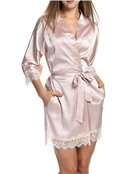 Hotouch Women's Bathrobes Short Satin Kimono Robes Bridesmaids Sleepwear With Oblique V Neck S Xxl by Hotouch