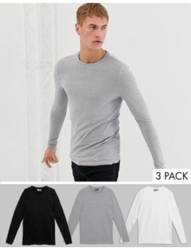 Asos Design Muscle Long Sleeve T Shirt 3 Pack Multipack Saving by Asos Design